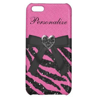 Pink & Black Zebra Print Faux Glitter & Bow iPhone 5C Covers
