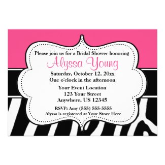 Pink Black Zebra Print Invitation