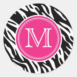 Pink & Black Zebra Print Monogram Round Stickers