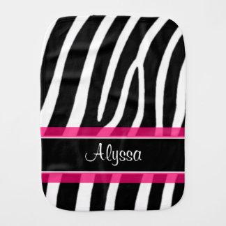 Pink Black Zebra Print Personalized Burp Cloth