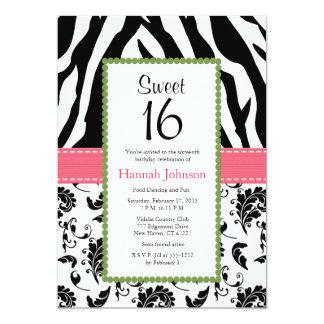 """Pink Black Zebra Print Sweet Sixteen Invitation 5"""" X 7"""" Invitation Card"""