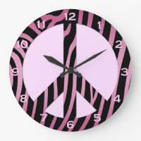 Pink Black Zebra Print Wall Clock