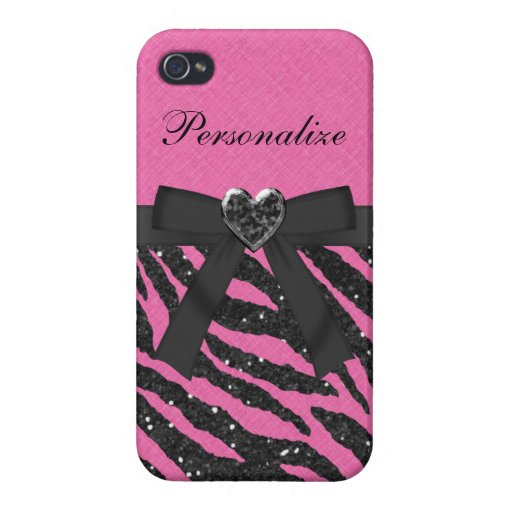 Pink & Black Zebra Printed Glitter & Bow Covers For iPhone 4