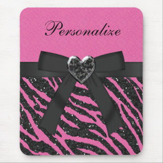 Pink & Black Zebra Printed Glitter & Bow Mouse Pad