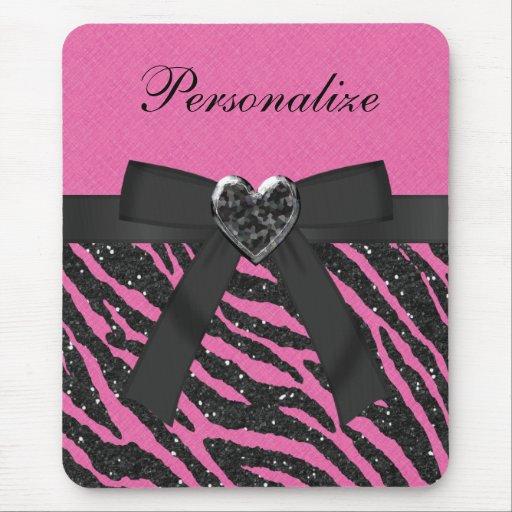 Pink & Black Zebra Printed Glitter & Bow Mouse Pad