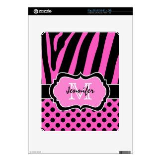 Pink Black Zebra Stripe and Polka Dots iPad 1 Skin iPad Decals
