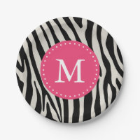 Pink & Black Zebra Stripe Monogram Birthday Party Paper Plate