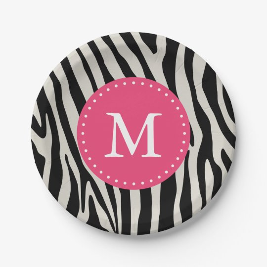 Pink \u0026 Black Zebra Stripe Monogram Birthday Party Paper Plate  sc 1 st  Zazzle : pink and black paper plates - pezcame.com