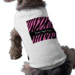 Pink & Black Zebra Stripes; Animal Print Doggie Tee Shirt