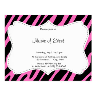 Pink & Black Zebra Stripes; Animal Print Postcard