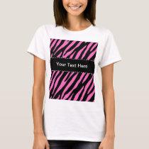 Pink & Black Zebra Stripes; Animal Print T-Shirt