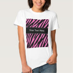 Pink & Black Zebra Stripes; Animal Print Tee Shirt