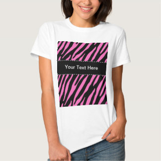 Pink & Black Zebra Stripes; Animal Print Tee Shirt