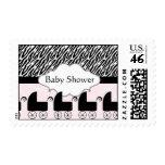 Pink Black Zebra Stripes Baby Shower Postage