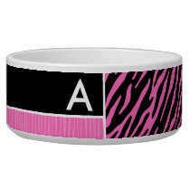 Pink & Black Zebra Stripes Bowl