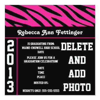 pink black zebra stripes graduation invitations