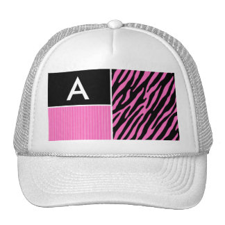 Pink & Black Zebra Stripes Mesh Hats