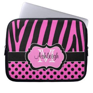 Pink Black Zebra Stripes Polka Dots Laptop Case