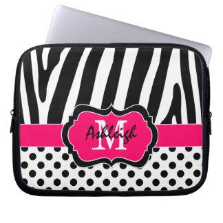 Pink Black Zebra Stripes Polka Dots Laptop Case Computer Sleeve