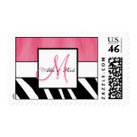 Pink Black Zebra Stripes Wedding Postage Stamps