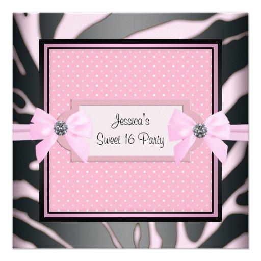 Pink Black Zebra Sweet 16 Birthday Party Custom Announcement