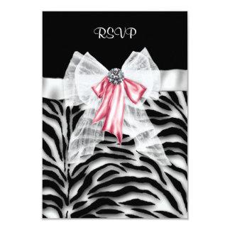 Pink Black Zebra Sweet 16 Birthday Party RSVP Card