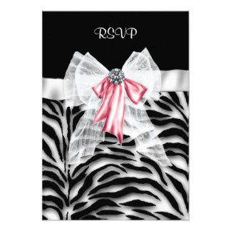 Pink Black Zebra Sweet 16 Birthday Party RSVP Announcements