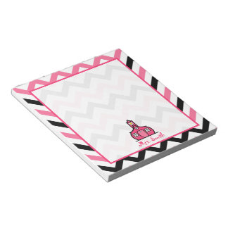 Pink & Black Zigzag Teacher Notepad
