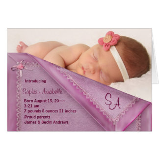 Pink Blanket Girl Photo Birth Annoncement Cards