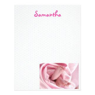 Pink Blanket Swaddled Feet Baby Scrapbooking Paper Letterhead
