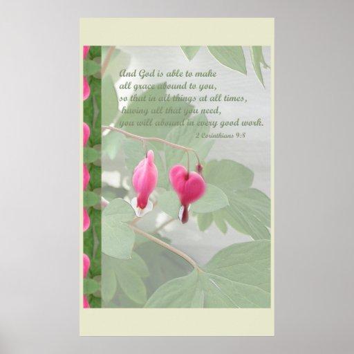 Pink Bleeding Heart ~ 2 Corinthians 9:8 Border Poster