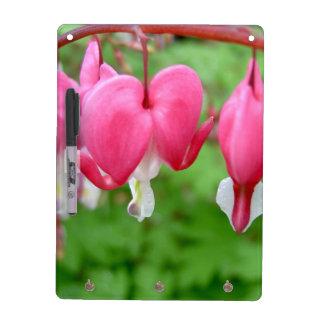Pink Bleeding Heart Dry Erase White Board