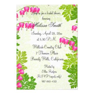 Pink Bleeding Heart Floral Bridal Shower Invite