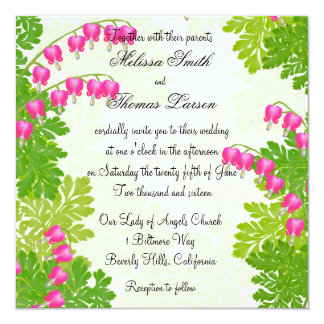 "Pink Bleeding Heart Floral Wedding Invitation 5.25"" Square Invitation Card"