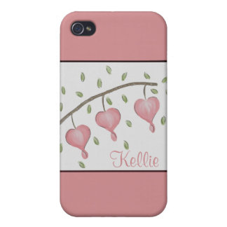 Pink Bleeding Hearts Customizable iPhone 4 Case