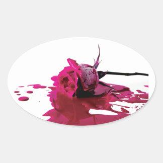 Pink Bleeding Rose Oval Sticker