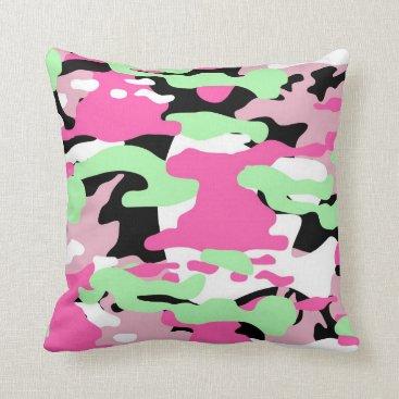 Pink Blends Camo Throw Pillow