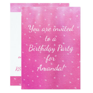 Pink Blends White Stars Birthday Party Invitations