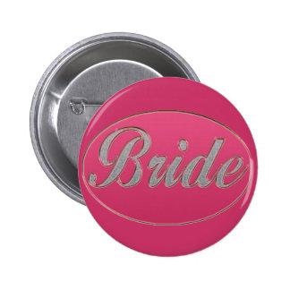 Pink Bling Bride Pinback Button