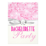 pink bling disco sparkle bachelorette party custom invitations