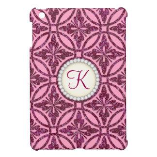 Pink Bling Geometric Pattern Monogram iPad Mini Cases