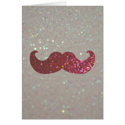 Greeting Card with Pink Bling Glitter Mustache design