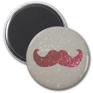 Pink Bling Mustache (Faux Glitter Graphic) 2 Inch Round Magnet