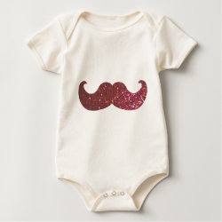 Infant Organic Creeper with Pink Bling Glitter Mustache design