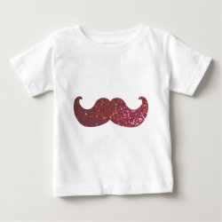 Baby Fine Jersey T-Shirt with Pink Bling Glitter Mustache design