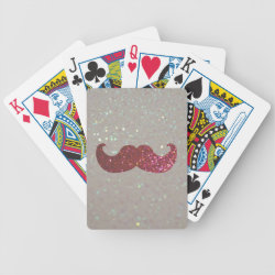 Pink Bling Glitter Mustache Playing Cards