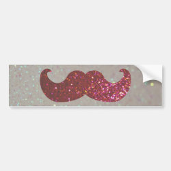 Bumper Sticker with Pink Bling Glitter Mustache design