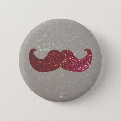 Round Button with Pink Bling Glitter Mustache design