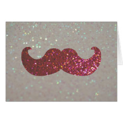 Pink Bling Glitter Mustache Greeting Card