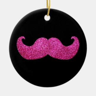 Pink Bling Mustache (Faux Glitter Graphic) Ceramic Ornament